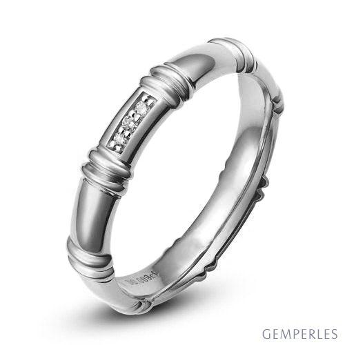 Alliance en or blanc 18 carats - Alliance diamants pour Femme