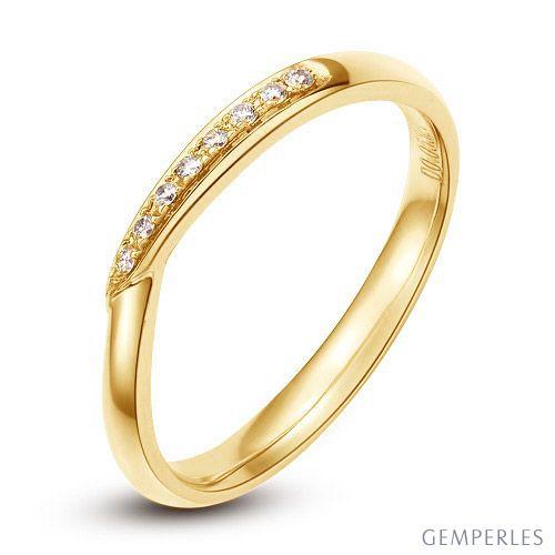 Alliance bague facettée - Alliance diamant Femme - Or jaune