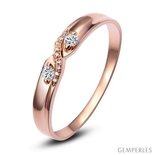 Alliance mariage diamants - En or rose - Pour Homme