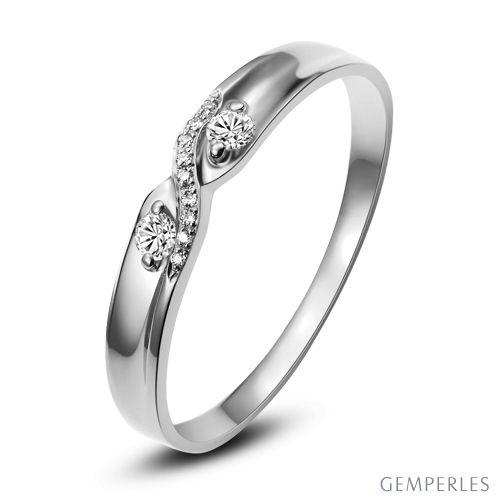 Alliance mariage diamants - En or blanc - Pour Homme
