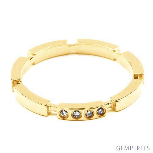 Alliance anneau de mariage - Alliance femme or jaune et diamants