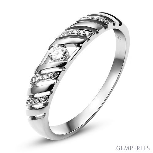 Alliance Femme. Or blanc. Diamants 0.089ct