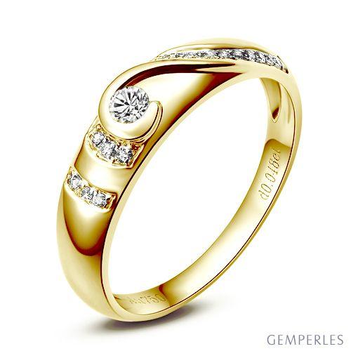 Alliance femme solitaire diamants - Bague moderne Or jaune 18 cts