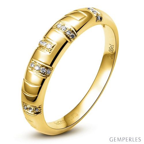 Bague homme - Or jaune 18 carats et Diamants