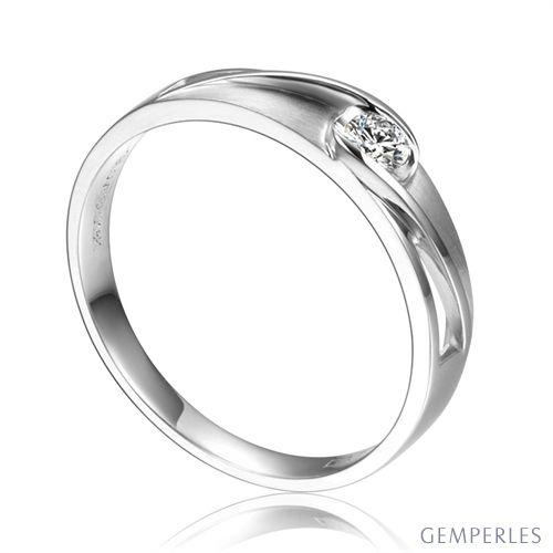 Alliance solitaire ajouré - Alliance Femme diamant or blanc