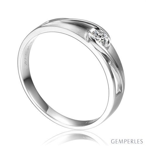 Alliance solitaire ajouré - Alliance Homme diamant or blanc