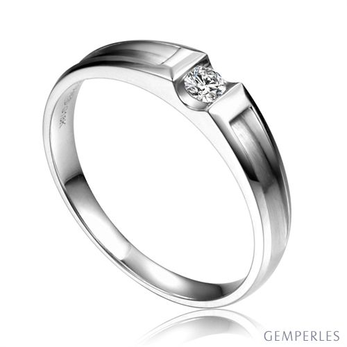 Alliance solitaire diamant -  Alliance Homme or blanc 18cts