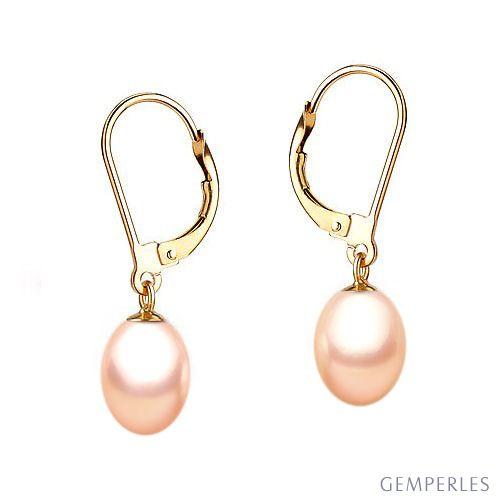 Boucles d'oreilles perles roses de culture 8/9mm - Dormeuses or jaune