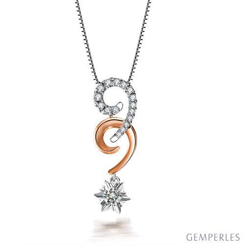 Pendentif 99 - Or blanc et rose - Diamants 0.30ct