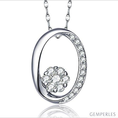 Pendentif O - Fleur préservée - Or blanc, diamants 0.19ct