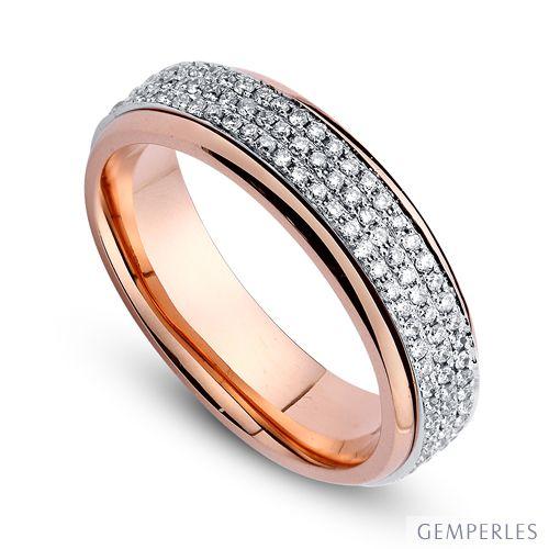 Joaillier alliance de fiançaille - Alliance Femme diamants et or rose et blanc