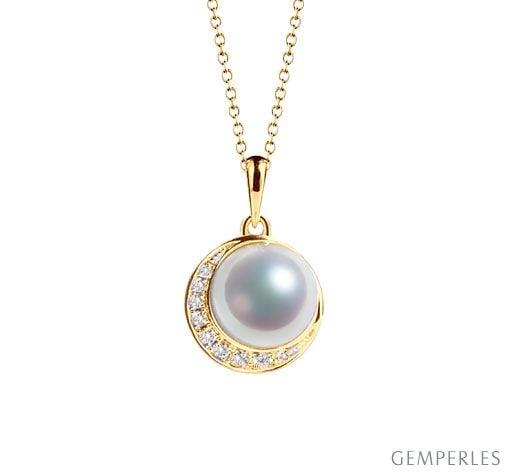 Pendentif couronne Or jaune Diamants. Perle Akoya
