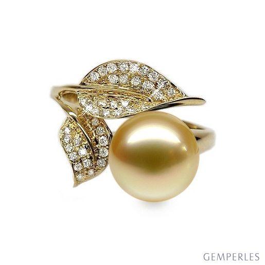Bague feuilles de jasmin - Perle d'Australie dorée - Or jaune, diamants