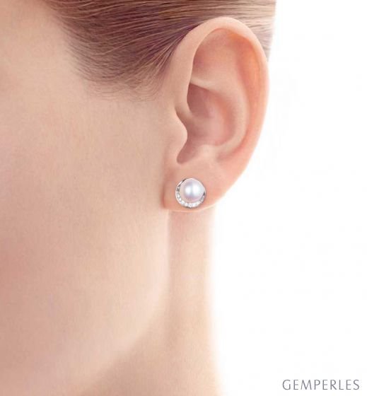 Boucles oreilles couronne Or blanc Diamants. Perles Akoya
