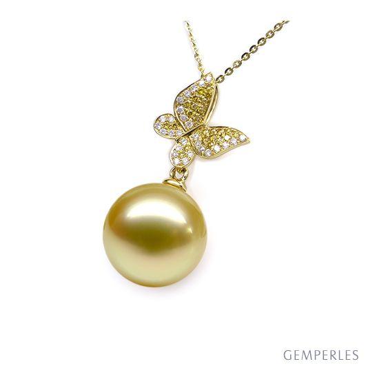 Pendentif Papillon Or jaune. Perle d'Australie dorée. Diamants