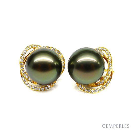 Boucles elliptiques en or jaune - Perles Tahiti, Couronnes diamants