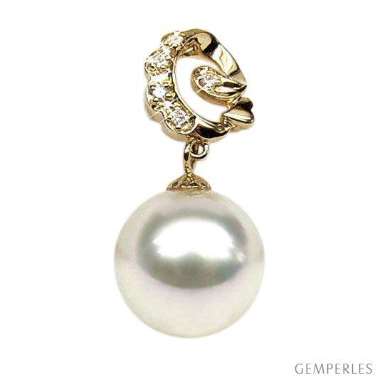 Pendentif création - Perle d'Australie blanche - Or jaune, diamants