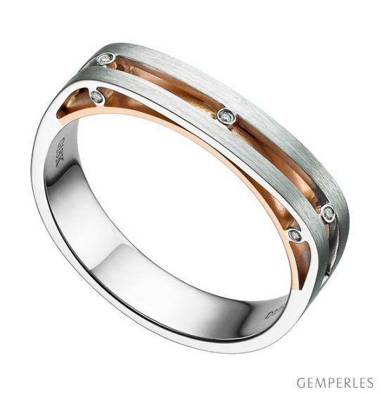 Bague contemporaine or blanc et rose 18cts - Diamant 0.02ct