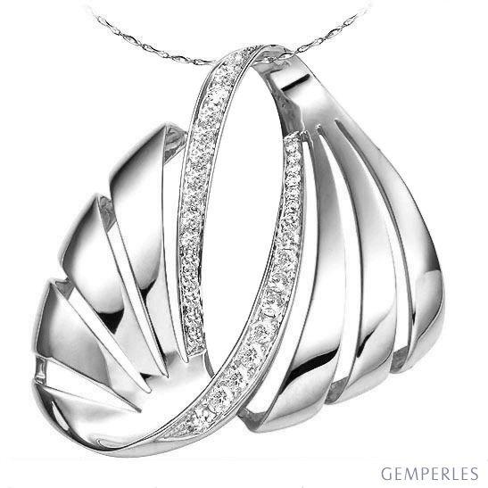Pendentif or blanc diamants issu des flots énigmatiques
