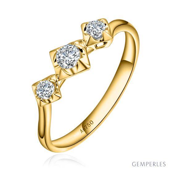 Bague fiançailles trilogie - Diamants 0.20ct - Or jaune 18 carats