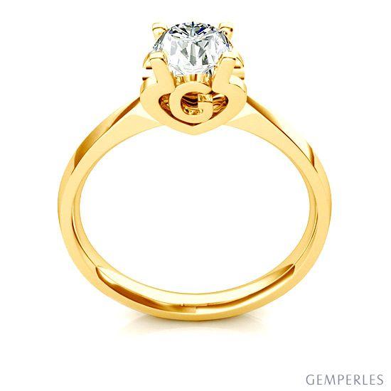 Bague prénom - Lettre G - Diamant, or jaune
