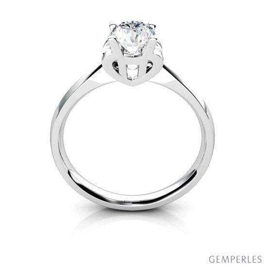 Bague prénom - Lettre H - Diamant, Or blanc