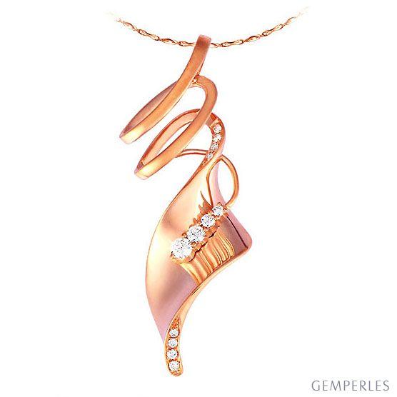 Pendentif or rose - Esprit tourbillonnant - Serti 12 diamants 0.14ct