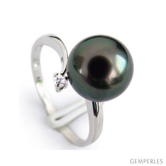Bague Îles Gambier - Perle de Tahiti noire - Or blanc, diamant