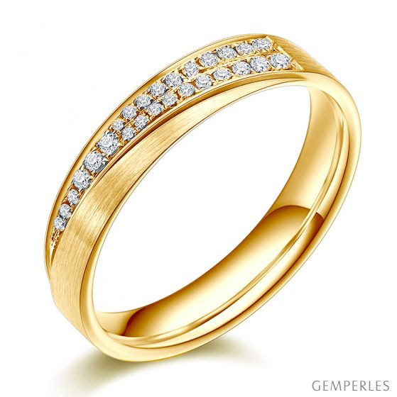 Alliance Femme Sillage amoureux. Or jaune, diamants