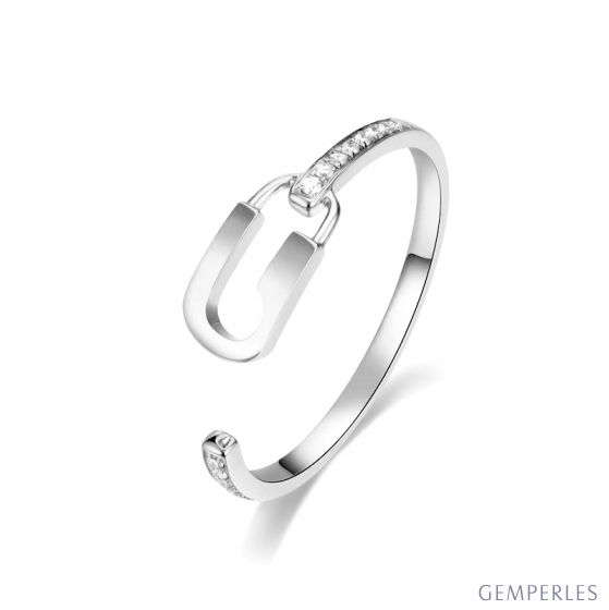 Bague cadenas Or blanc 18cts. Diamants 0.070ct