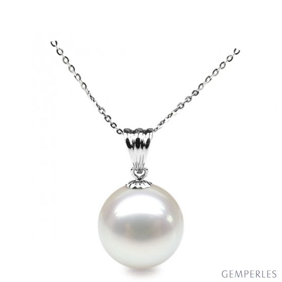 Collier une perle blanche - Pendentif or blanc
