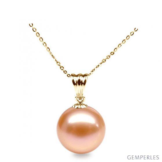 Collier une perle rose - Pendentif or jaune