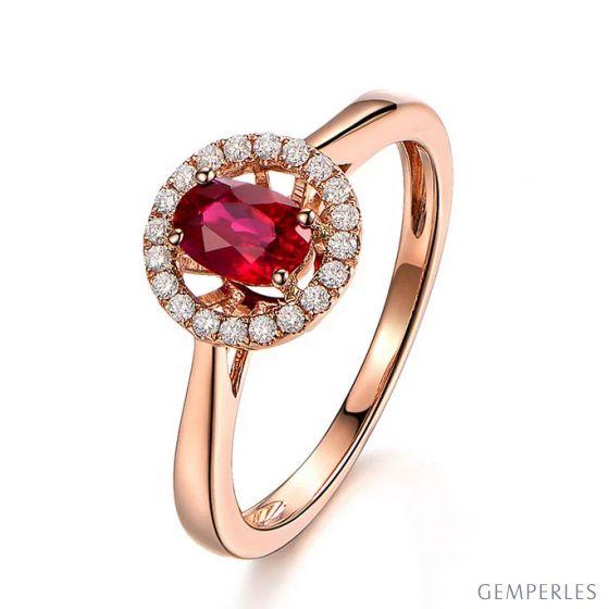 Bague rubis 1ct, Or rose et diamants. Enmènes-moi