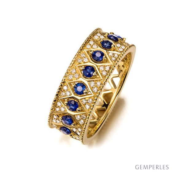 Bague saphir Palais Farnese - Or jaune, saphir & diamant