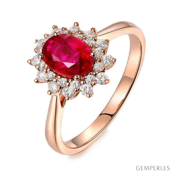 Bague rubis Or rose. Double pavage diamants. Inspiration florale