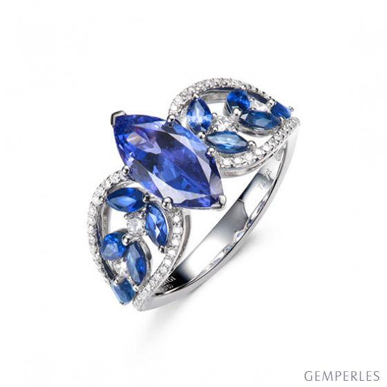 Bague Mère Nature - Tanzanite & Saphir bleu - Or blanc, diamant