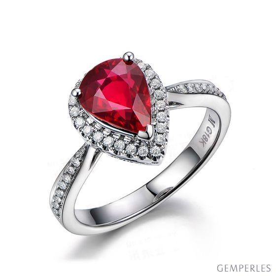 Bague Comtesse Rubis Poire et Diamants. Or blanc