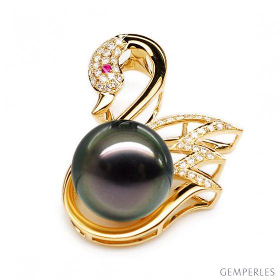 Pendentif cygne - Perle de Tahiti - Or jaune, diamants, saphir rose - 2