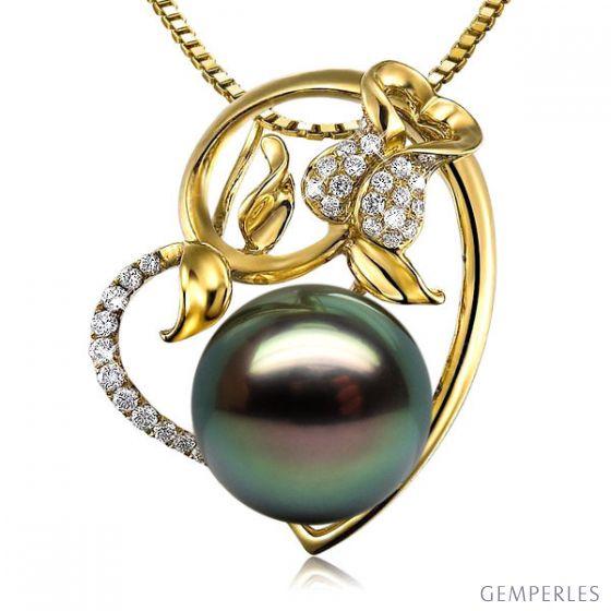 Pendentif rose forme coeur - Perle de Tahiti - Or jaune, diamants pavés