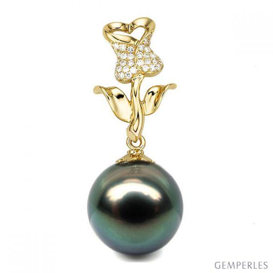 Pendentif rose - Perle de Tahiti - Or jaune, diamants pavés - 2