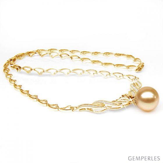 Collier maille coeur - Or jaune, diamants - Perle Australie dorée