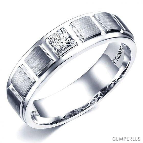 Bague en or blanc pour Homme. Finition polie et brossée. Diamant