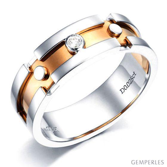 Bague anneau originale pour Homme - Métal 2 ors 18cts - Diamant