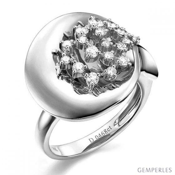 Création de bague - Joaillerie bague or blanc - 19 Diamants 0.468ct