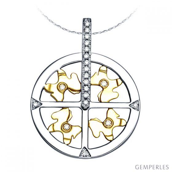 Pendentif 2 ors diamants - 4 Chevaux à bascule dans leur carroussel