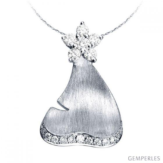 Pendentif nature - Création joaillière or blanc - Diamants 0.25ct