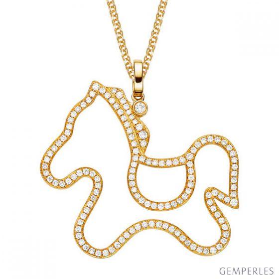 Pendentif cheval or jaune 18cts entièrement pavé de 133 diamants
