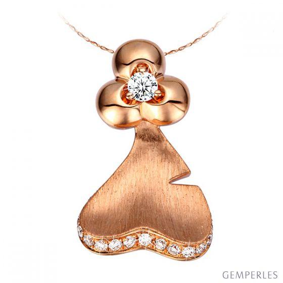 Pendentif nature or rose et diamants 0.20ct - Création joaillière