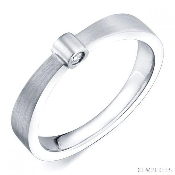 Bague anneau or blanc - 2 Diamants sertis clos