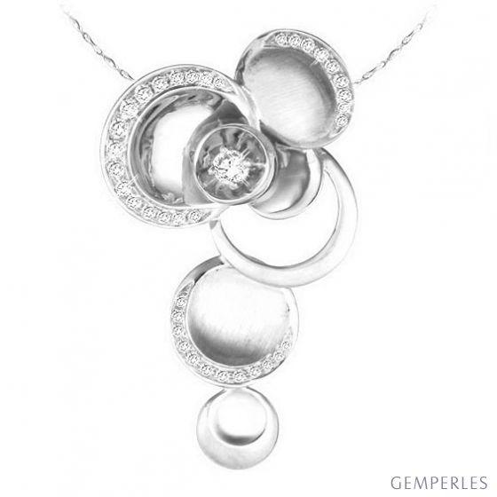 Pendentif or blanc 750/1000 - Bijou circulaire en diamants